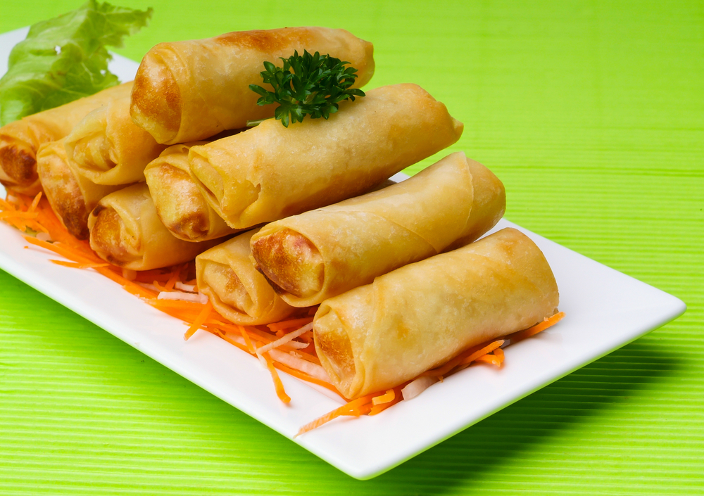 Spring Roll on the background