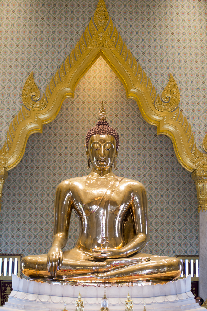 The Gold Buddha at the Temple Wat Traimit in the China Town of Bangkok in Thailand in Southeastasia.