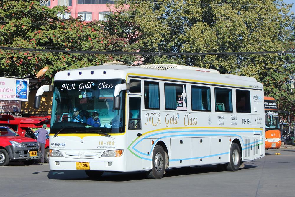 CHIANGMAI, THAILAND -JANUARY 10 2016:  Mercedes benz  bus of Nakhonchai air company bus. Route Bangkok and Chiangmai. Photo at Chiangmai bus station.