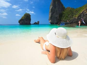 Woman-on-the-beach---Maya-Bay