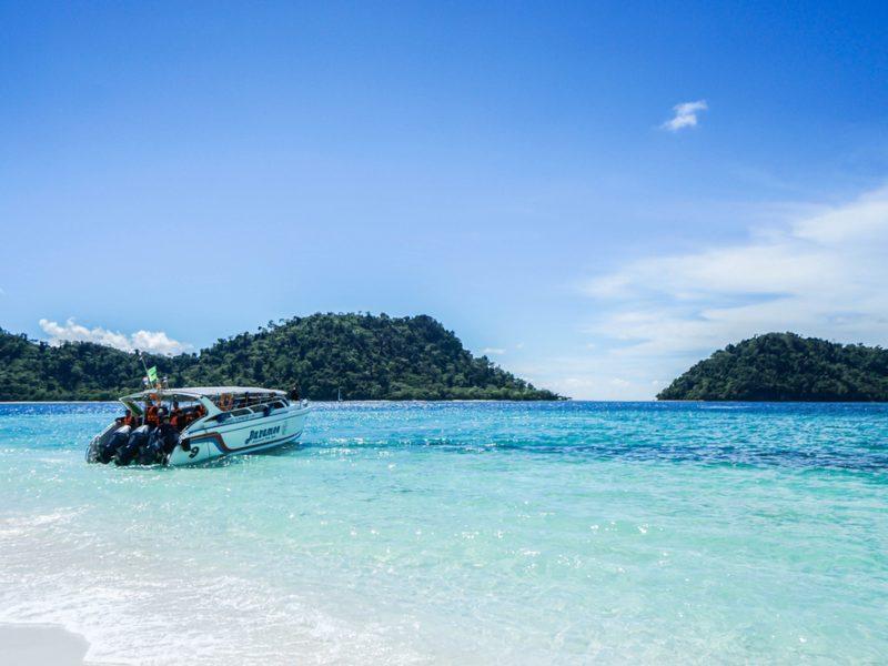 editorial Baramee speedboat at Tarutao island taken in Satun Thailand on 7 April 2017